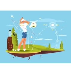Male golfer playing golf vector