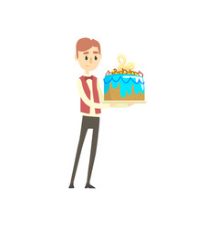 Male waiter holding festive cake with swan cartoon vector