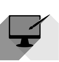 monitor with brush sign black icon with vector image