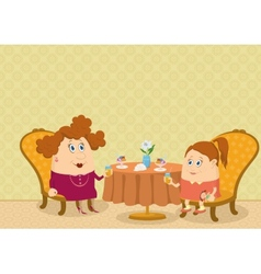 Mother and daughter in Restaurant vector
