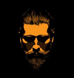 Mustache and bearded man portrait in contrastlight vector