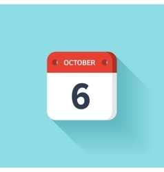 October 6 Isometric Calendar Icon With Shadow vector image