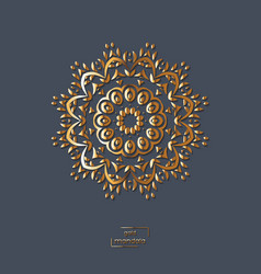ornamental gold flower oriental mandala on blue vector image