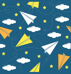 paper airplane seamless pattern vector image