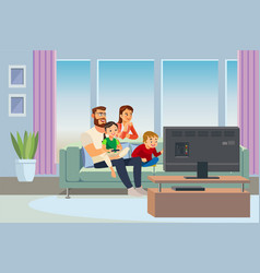 parents spending time with kids at home vector image