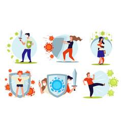 People fighting against diseases viruses vector