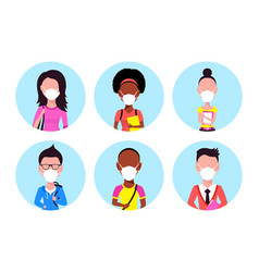 people wearing face mask set icons vector image