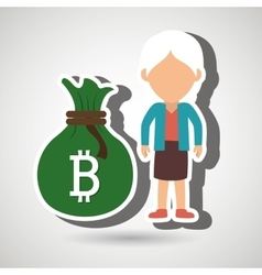 Person woman bit coin web vector