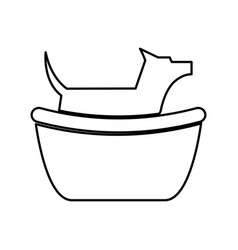 Pet dog in tub mascot silhouette vector