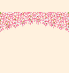 pink wisteria isolated on beige background with vector image