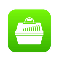 portable cage for pets icon digital green vector image