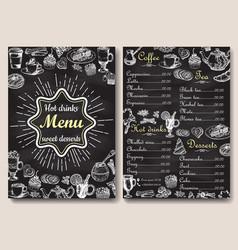 Restaurant hot drinks menu design with chalkboard vector