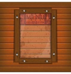 restaurant menu wooden frame and glass light vector image