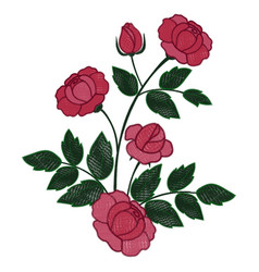 Rose branch embroidery vector