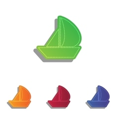 Sail Boat sign Colorfull applique icons set vector image