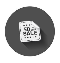 Sale stickers 50 percent off with long shadow vector