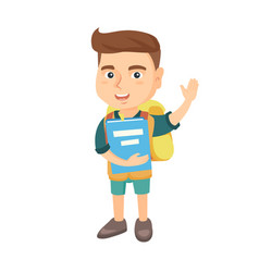 schoolboy holding a book and waving his hand vector image