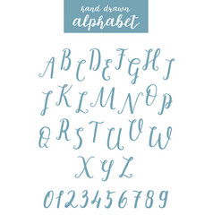 script font alphabet written with a brush vector image vector image