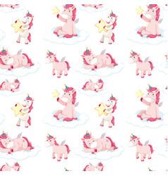 seamless pattern of pink unicorns vector image