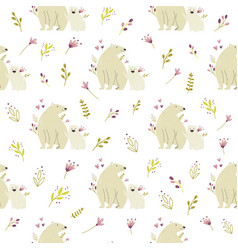 Seamless pattern with cute polar bears and field vector
