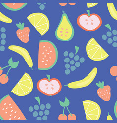 seamless summer fruit pattern blue vector image