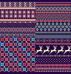 set of seamless sweater patterns vector image
