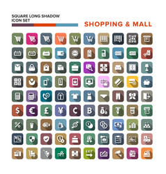 Shopping mall icons set with long shadow isolated vector