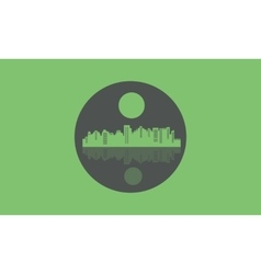 Silhouette of design city icons vector