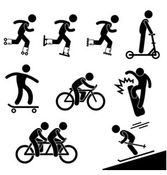 Skating and riding activity icon symbol sign vector