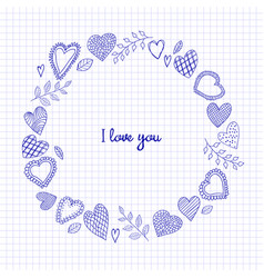 Sketch doodle hearts frame on the checkered vector