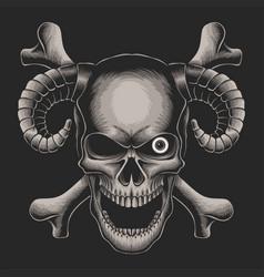 skull head crossbone vector image