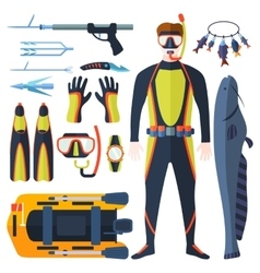 Spearfishing set vector image