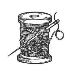 spool of thread and needle engraving vector image