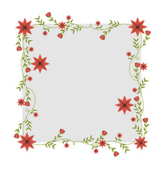 square frame with creepers and red flowers vector image