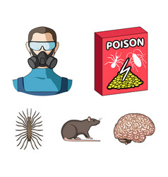 Staff packing with poison and pests cartoon icons vector