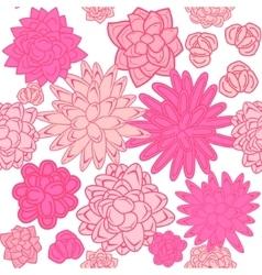 succulent garden monochrome doodle seamless vector image