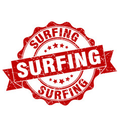 surfing stamp sign seal vector image