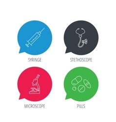 Syringe stethoscope and microscope icons vector