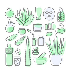thin line icon set - aloe vera plant and products vector image