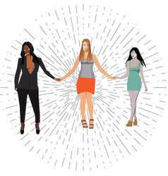 three beautiful women hold hands vector image