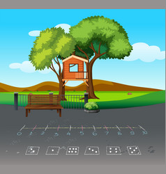 three house in nature landscape vector image