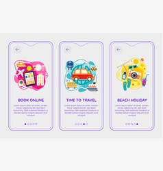 trendy time to travel mobile app splash onbard vector image