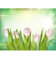 Tulips on bokeh background EPS 10 vector image