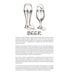 Two beer glasses with chips sketch style poster vector