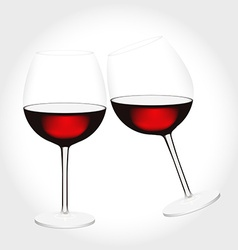 Two glasses of red wine clink vector