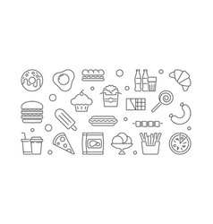 unhealthy junk food horizontal vector image