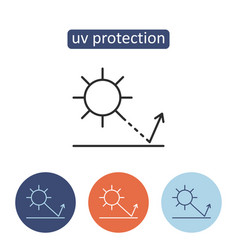 Uv protection material outline icons set vector