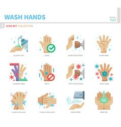 Wash hand icon set vector