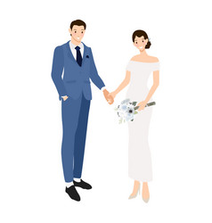 wedding couple holding hands in formal navy blue vector image