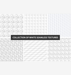White geometric textures - seamless set vector
